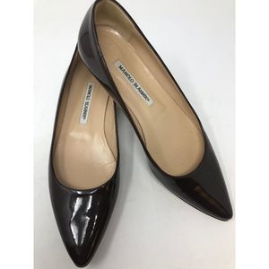 Manolo Blahnik  Patent Leather Pointed Toe Flats 9